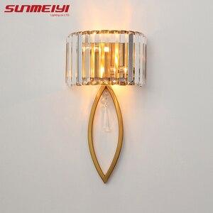 Image 5 - Luxo lâmpadas de parede led para sala estar banheiro corredor escadas loft lâmpada moderna quarto cristal luz parede specchio da parete