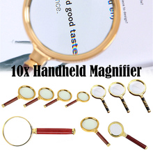 Portable 10X Magnifying Glass 60/70/80/90mm Handheld Magnifier Antique  Handle Magnifier For Reading Book Loupe Glass
