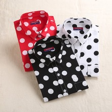 VZFF Polka Dot Red Black Shirt Women Long Sleeve Blouse Cotton White Dot Shirts Plus Size Female Top Fashion Women Blouses plus size polka dot raglan sleeve top