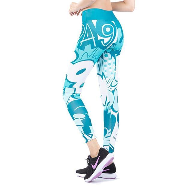 2019 New Comic Words Printing Leggings Put Hip Fold Elastic High Waist Legging Breathable Slim Pants 6
