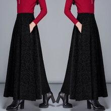 Осень и зима новая женская мода тонкая большого размера утолщенная с принтом эластичная высокая талия плиссированная юбка