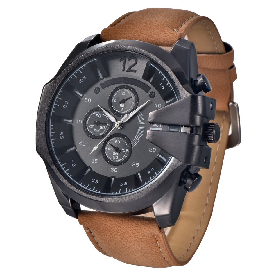 Quartz Watch Men Cool Men's Watch Analog Sport Steel Case Quartz Dial Leather Wristwatch Gift Erkek Kol Saati Horloges Mannen