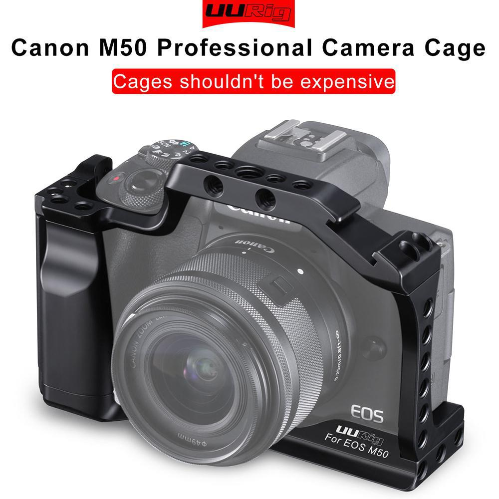 UURig C-M50 Professional DSLR Camera Cage For Canon M50 M5 Arca Quick Release Cage For EOS M50 With Hot Shoe Arri Hole 1/4