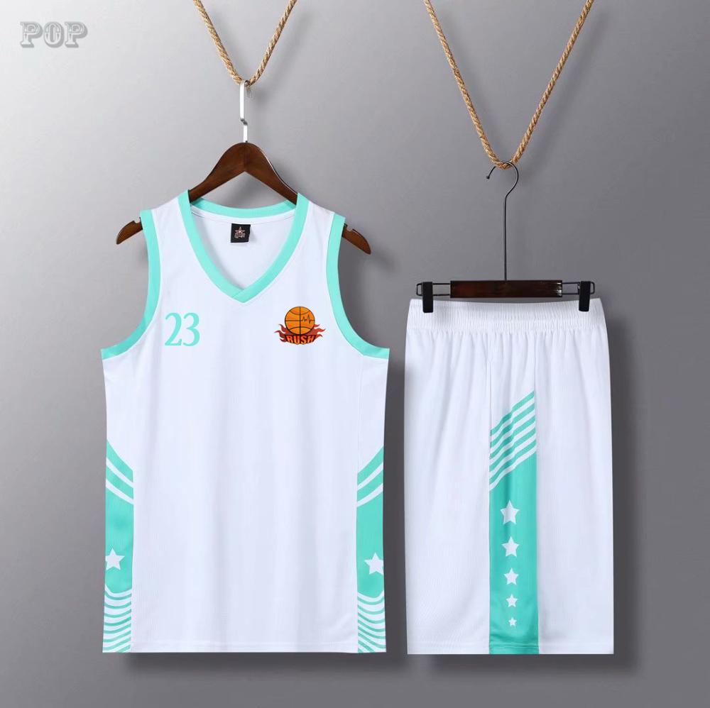 Uniformes de Basquete Equipe de Basquete em Branco Personalizados Conjunto Masculino Jerseys Juventude Barato Colégio Esportes Kit 2020 Respirável Preto