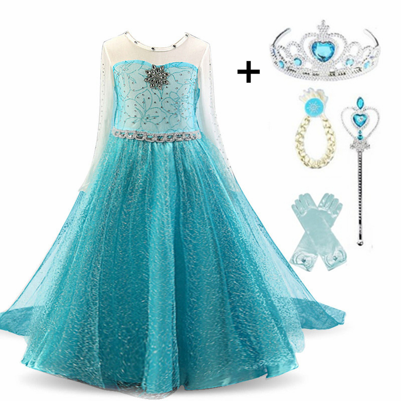 Cosplay Queen Elsa Dresses Elsa Elza Costumes Princess Anna Dress For Girls Party Vestidos Fantasia Kids Girls Clothing Elsa Set