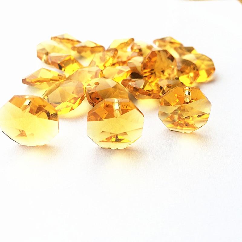 Высокое качество 20 шт./лот многоцветный 14 мм хрустальные Восьмиугольные бусины в одном отверстии K9 кристаллы части для люстры аксессуары DIY Свадебные и x-дерево украшения - Цвет: Gold