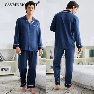 Image 3 - CAVME 100% Silk Pajama Set for Men Hommes Luxury Homwear Father Sleepwear 2 Pieces PLUS SIZE Classic Design Solid Color