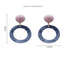 Korean Summer Blue Geometric Resin Irregular Hollow Circle Drop Earrings for Women Metal Party Beach Jewelry