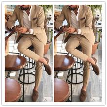 Khaki garnitury męskie na ślub 2 szt Garnitur marynarka klapa zamknięta kostiumy męskie garnitury imprezowe (kurtka + spodnie) tanie tanio Octan COTTON Poliester 01269 REGULAR Mieszkanie skinny Zipper fly Pojedyncze piersi Gothic
