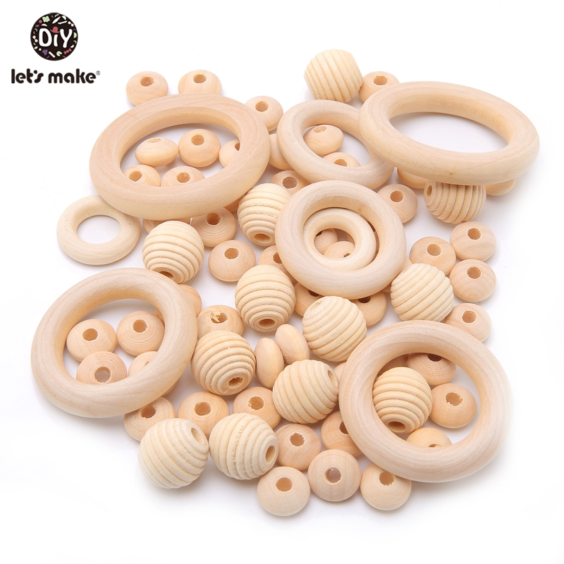 Let's Make Wooden Teething Beads BPA Free Food Grade Thread Wood Bead For Infant Baby Rattle Play Gym Toys Baby Wooden Teether