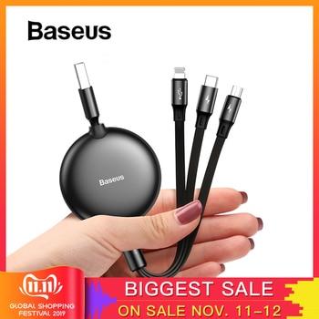 Baseus Cable USB 3 en 1 USB tipo C para iPhone 11 XS XR Cable USB ajustable tipo C Cable para Samsung S10 Cable Micro USB
