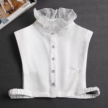Рюшами поддельные воротник рубашка женщины шаль съемная рубашка воротник белый отворот накладные воротник +женщины одежда аксессуары галстук искусственный воротник