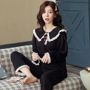 Image 3 - Bzel綿チェックパジャマ女性のファッションパジャマセットかわいいピンクpijamasラウンドネックファムパジャマプラスサイズナイトウェアM XXXL