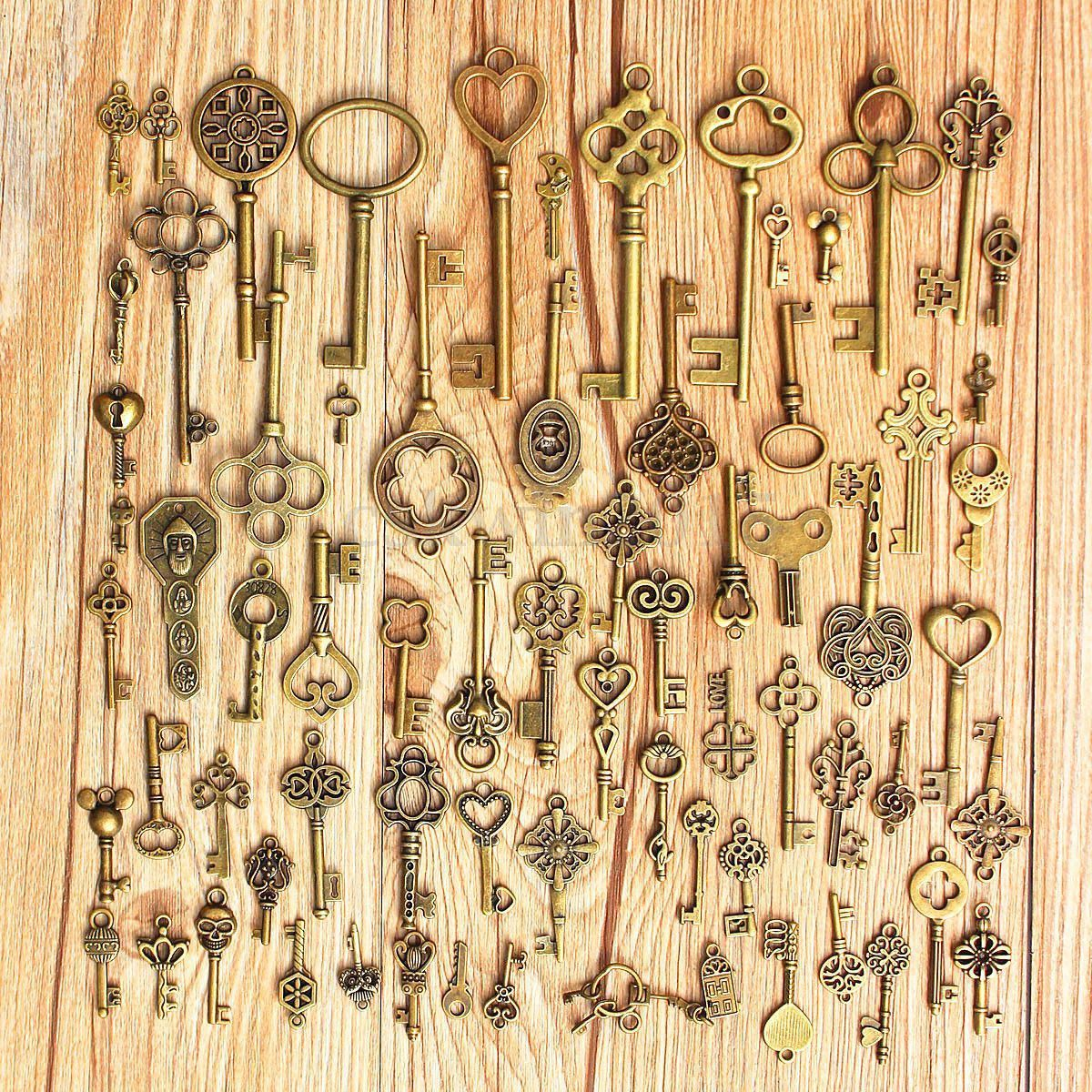 Set Of 70 Antique Vintage Old Look Bronze Skeleton Keys Fancy Heart Bow Pendant 70pcs
