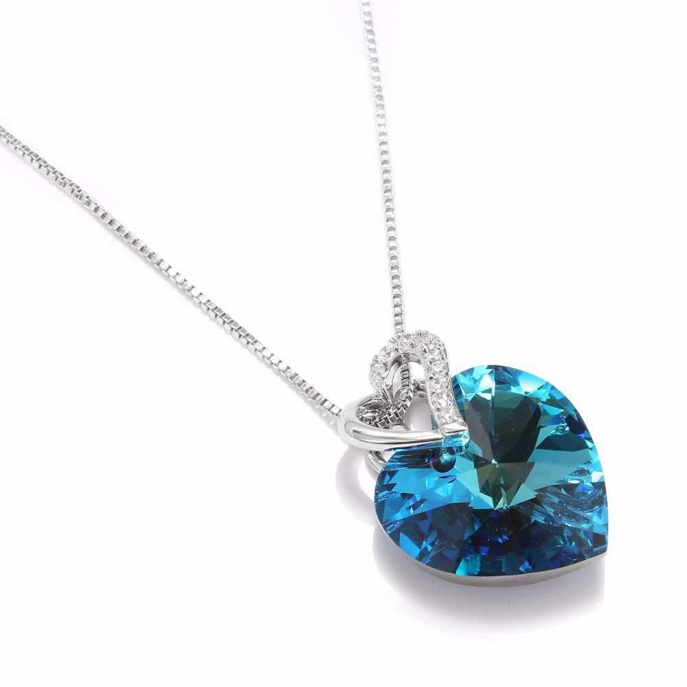 Warme Farben Crystal from Swarovski Women Necklace Fine Jewelry Blue Heart Crystal Pendant Necklace Valentine's day Gift