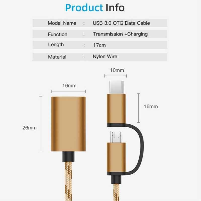 2 In 1 mikro tip C tak USB 3.0 Jack adaptörü Splitter OTG adaptör kablosu dönüştürücüler telefonu aksesuarları xiaomi Huawei için TXTB1