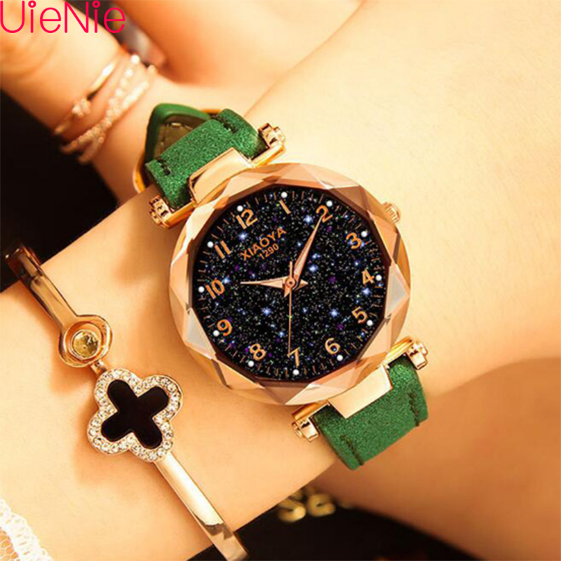 Women Watch Fashion Wild Luminous Starry Sky Dial Watch Luxury Fashion Ladies Geometric Roman Numeral Quartz Movement Watch