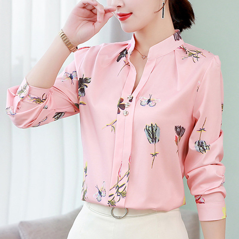 Long Sleeve Blouse Women Office Chiffon Shirt Femme Casual Tops Plus Size White Blusas Feminina 2019 Pink Clothes