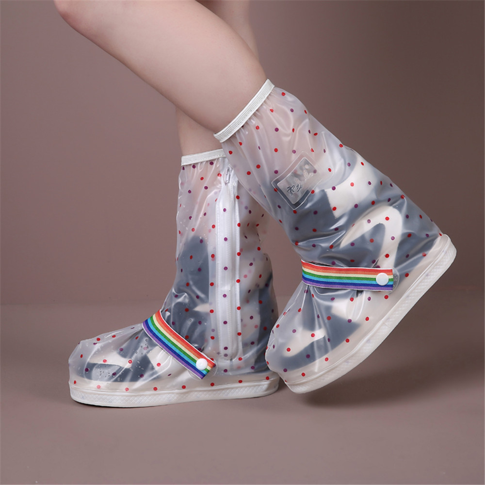 High Upper Printing Clover Waterproof Resuable Rain Boot Shoes Cover Oil Dust Proof For Women