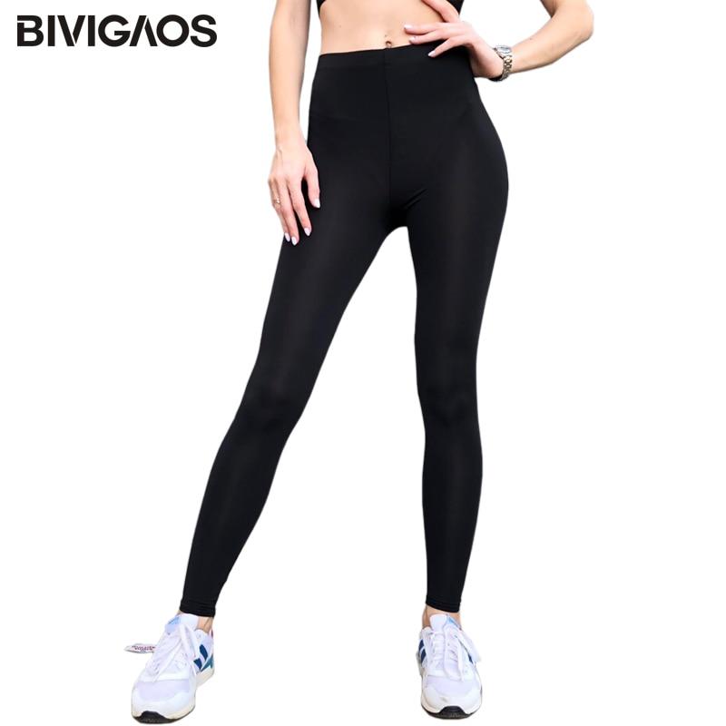 BIVIGAOS New Summer Ice Silk Cool Black Leggings Sexy Leggings Thin Stretch Slim Workout Leggings Ankle Pants Legins Women