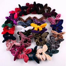 Cute Retro Hair Scrunchies Velvet Bunny Ear Scrunchie soft Women  Elastic Bands Girl Ponytail Holder Ties Accessories