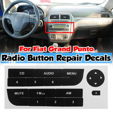 Botão de rádio do carro adesivo reparo para fiat grand punto rádio estéreo desgastado peeling botão reparação decalques adesivos