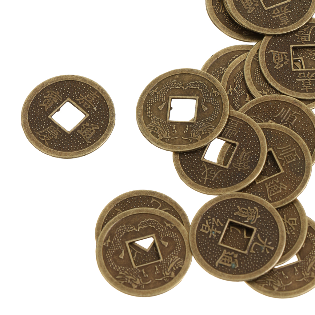 50 Feng Shui Chinese Emperor Coin Coins Double Dragon Pattern Silver Fortune Chance 2.3cm