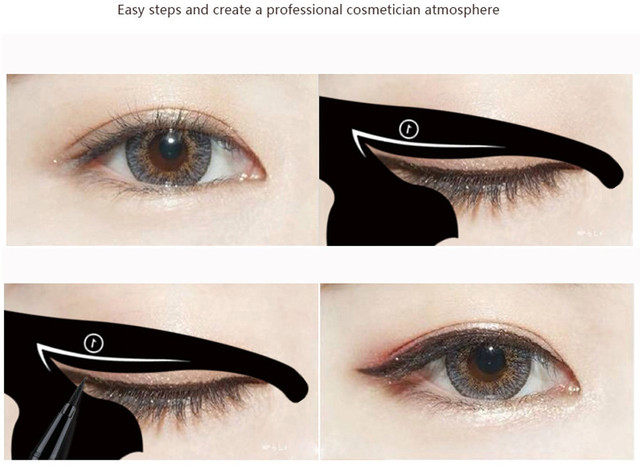 2Pcs Women Cat Line Pro Eye Makeup Tool Eyeliner Stencils Template Shaper Model Eyebrows And Eyeshadow Grooming