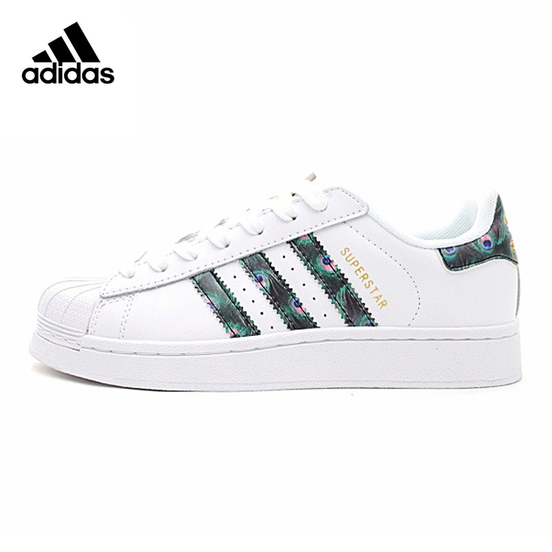 Original Authentic Adidas Superstar Women's Skateboarding Shoes Resistant Breathable Colorful Green Tail Casual Footwear CP9388