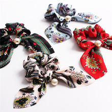 Chiffon Hair Scrunchies Women Fashion Pearl Ponytail Holder Hair Tie Hair Rope Rubber Bands Hair Accessories Bowknot Headwear(China)