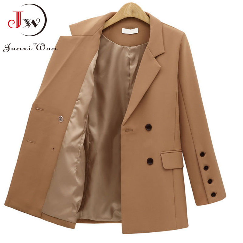 Women Blazer 2021 Solid Casual Double Breasted Office Wear Coat Jacket Long Sleeve Notched Collar Pockets Elegant Suit Outwear 2
