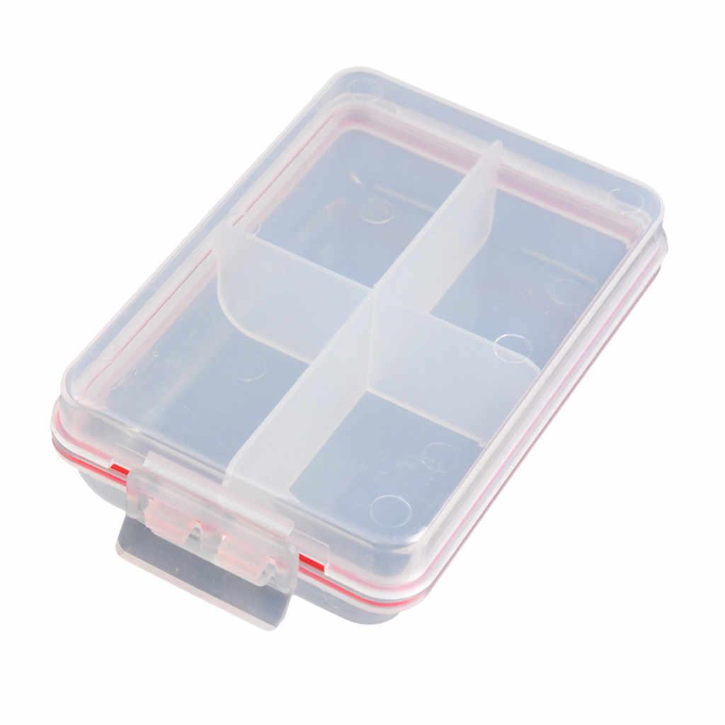 جديد 4 المقصورات صندوق تخزين شفافة الصيد إغراء مربع شص مربع ملعقة هوك بيت معالجة مربع الأسماك التبعي مربع