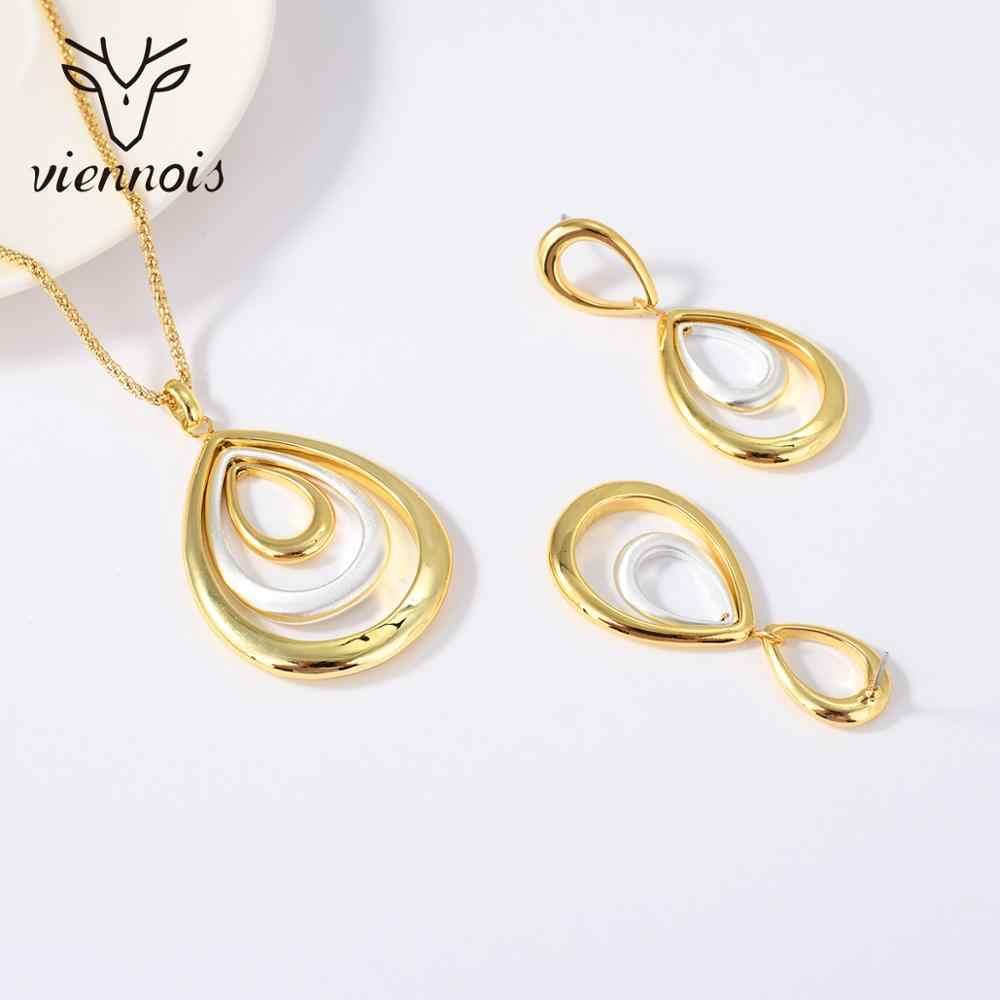 Viennois תכשיטי סט לנשים טיפת מים רב שכבתי עיצוב זהב צבע שרשרת להתנדנד עגילי המפלגה תכשיטים