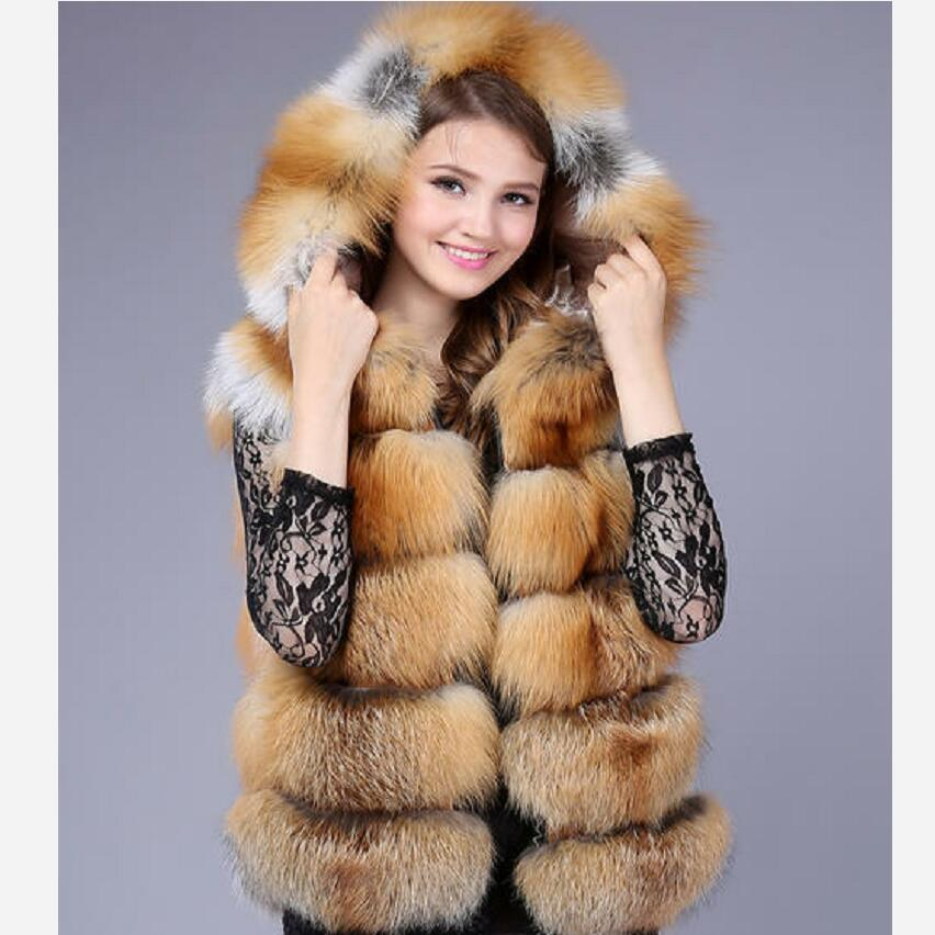 Natural red fox fur hooded vest Silver fox added hat vest Real fox fur made vests Winter warm fashion casual European street sty