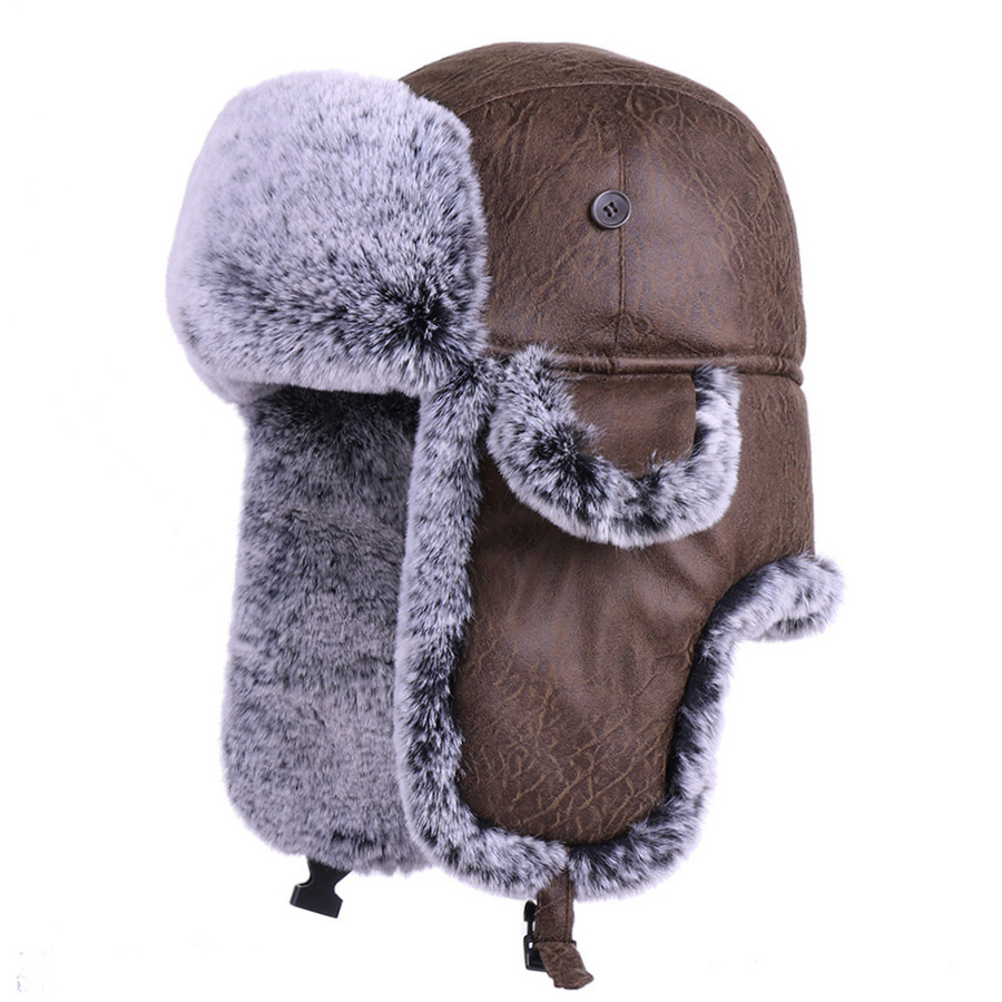 Bomber Hats Winter Trooper Ushanka Faux Fur Earflap Russian Aviator Snow Hat Men And Women Hunting Skiing Cap PU Leather Trapper