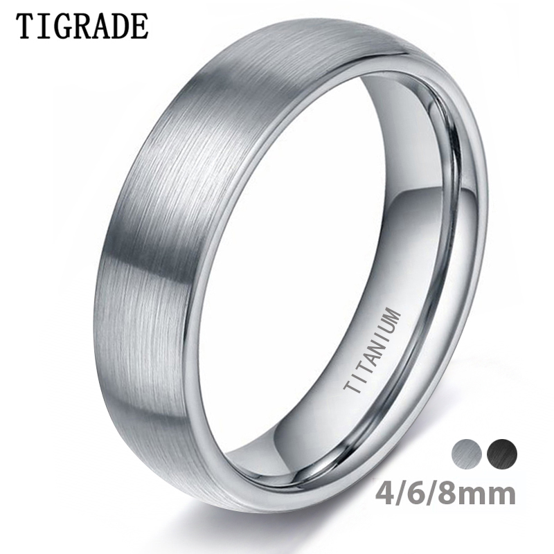 Tigrade 4/6/8mm Brushed Simple Silver Color Titanium Ring Men High Polished Wedding Band Engagement Rings Women Male Jewelry