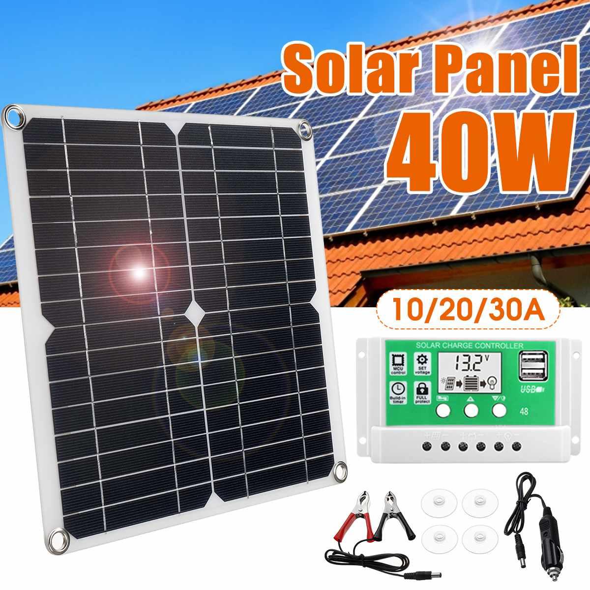 portatil 40 w painel solar monocrystalline silicio banco de energia solar 10 20 30a controlador sistema
