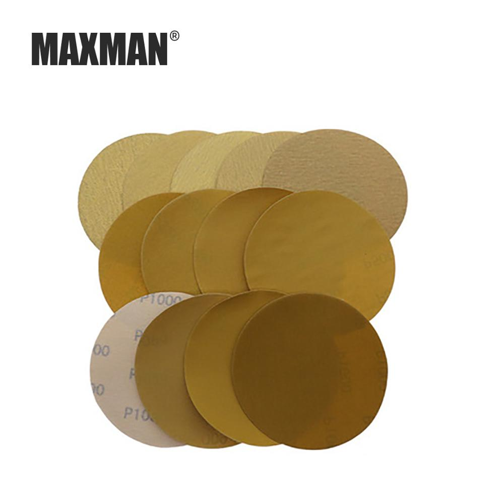 MAXMAN 10 Pcs 5 Inch/125MM Back Pile Disc Yellow Sandpaper Self-adhesive Sheet Auto Parts Polished Dry Sandpaper