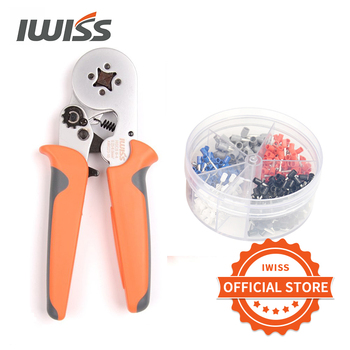 цена на IWISS HSC8 6-4A 0.25-6mm² 23-10AWG crimping pliers 400pcs terminals for tube type needle type terminal Square Crimp Profile tool
