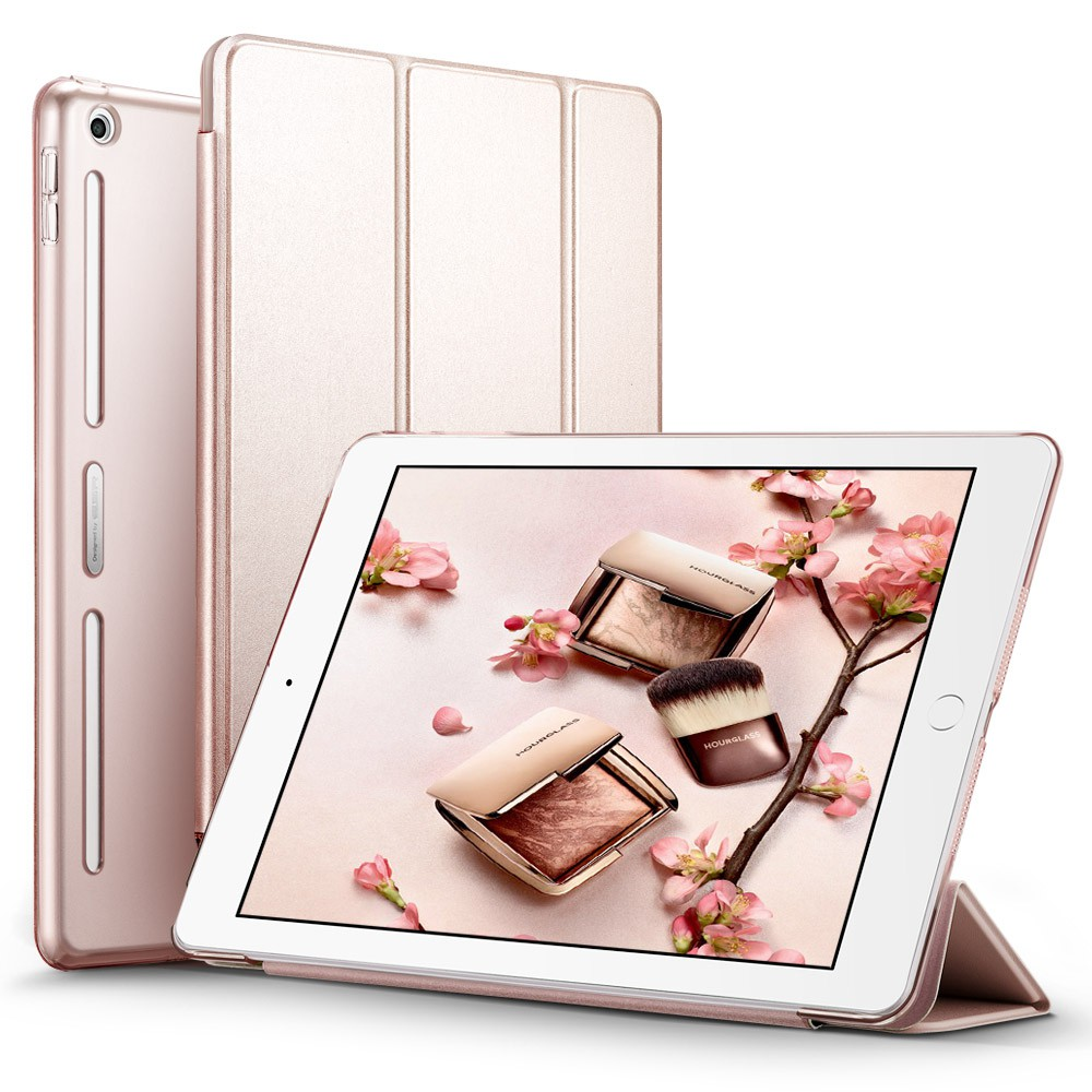 Rose ESR PU Leather Front Cover+Soft TPU Bumper Edge+PC Back Smart case for iPad 9.7 2017, 2018 Release