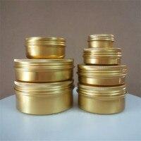 wholesale 30/50/60/80/100g/150g Gold Aluminum Tin Jar Metal Containers Lip Balm Container Empty Jars Cream Pot Box Makeup Bottle