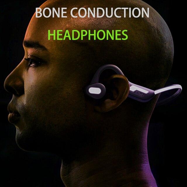 Conduction osseuse écouteur Bluetooth 5.0 casque sans fil Sport de plein air casque avec Microphone mains libres casques