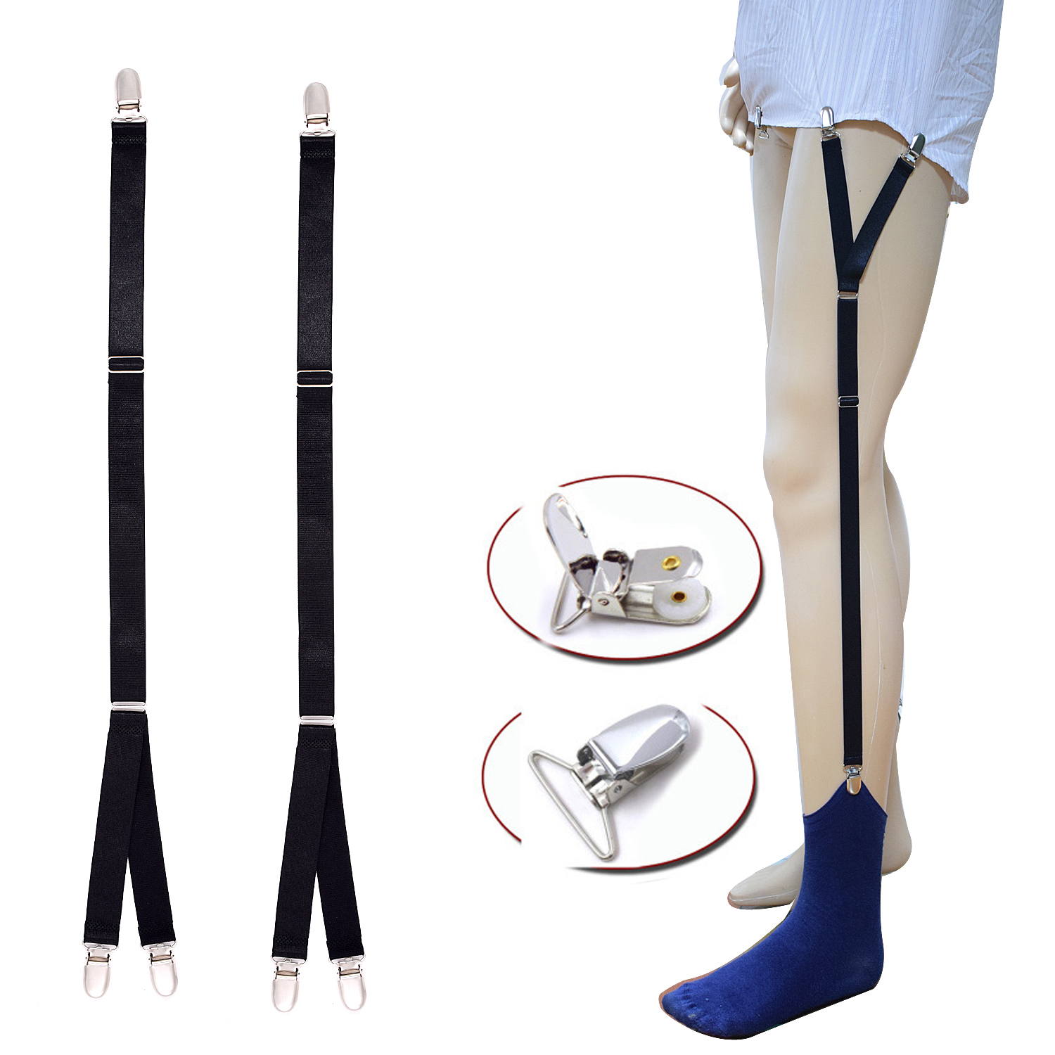 Mens Shirt Stays Garters Y Shape Adjustable Elastic Shirt Holders Tuckers Leg Suspenders Sock Clamps For Men Women Formal Wear