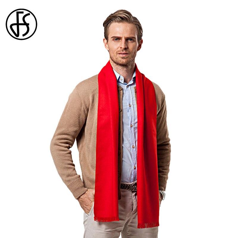 Fs europeu cor sólida homem vermelho cachecol marca designer estilo lã macio cachecóis cashmere masculino inverno inverno xales