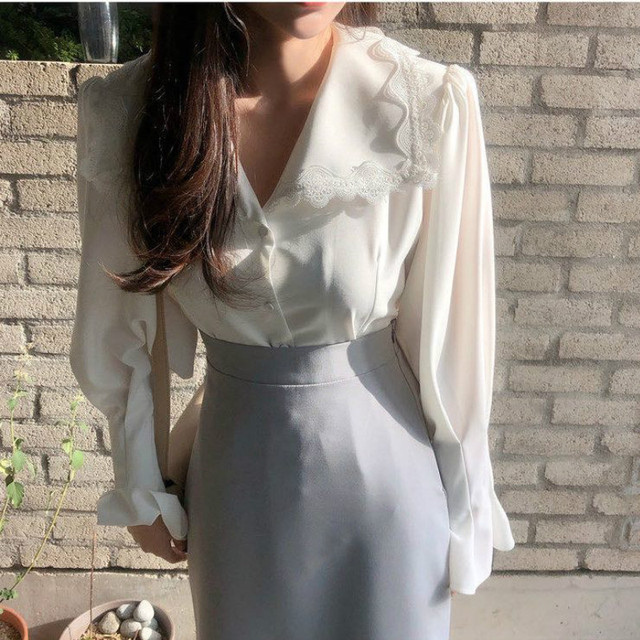 Ezgaga Lace Patchwork Elegant Shirts Turn-Down Collar Long Flare Sleeve Chic French Style White Shirts Office Lady Tops Fashion 4