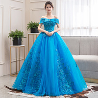 2020 New Off The Shoulder Luxury Lace Party Vestidos 15 Anos Vintage Quinceanera Dresses Lake blue Color Quinceanera Gown