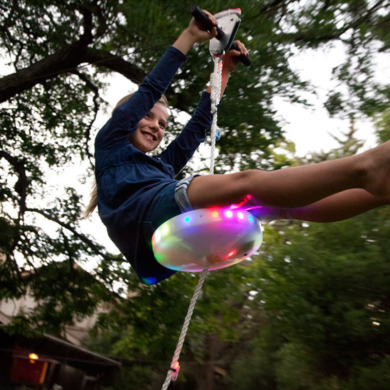 Kids Slackers Swing Seat Glowing Night Riderz Led Disc Flying Saucer Swing Set With Zipline Outdoor Toys