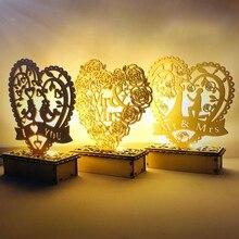 Señal de madera DIY en forma de corazón de estilo Vintage con luz de mesa ligera LED para la decoración de la fiesta del Día de San Valentín de la boda