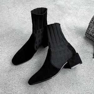 Image 3 - Krazing Pot popular breathable soft flock knitting socks boots round toe med heels slip on winter women solid ankle boots L92