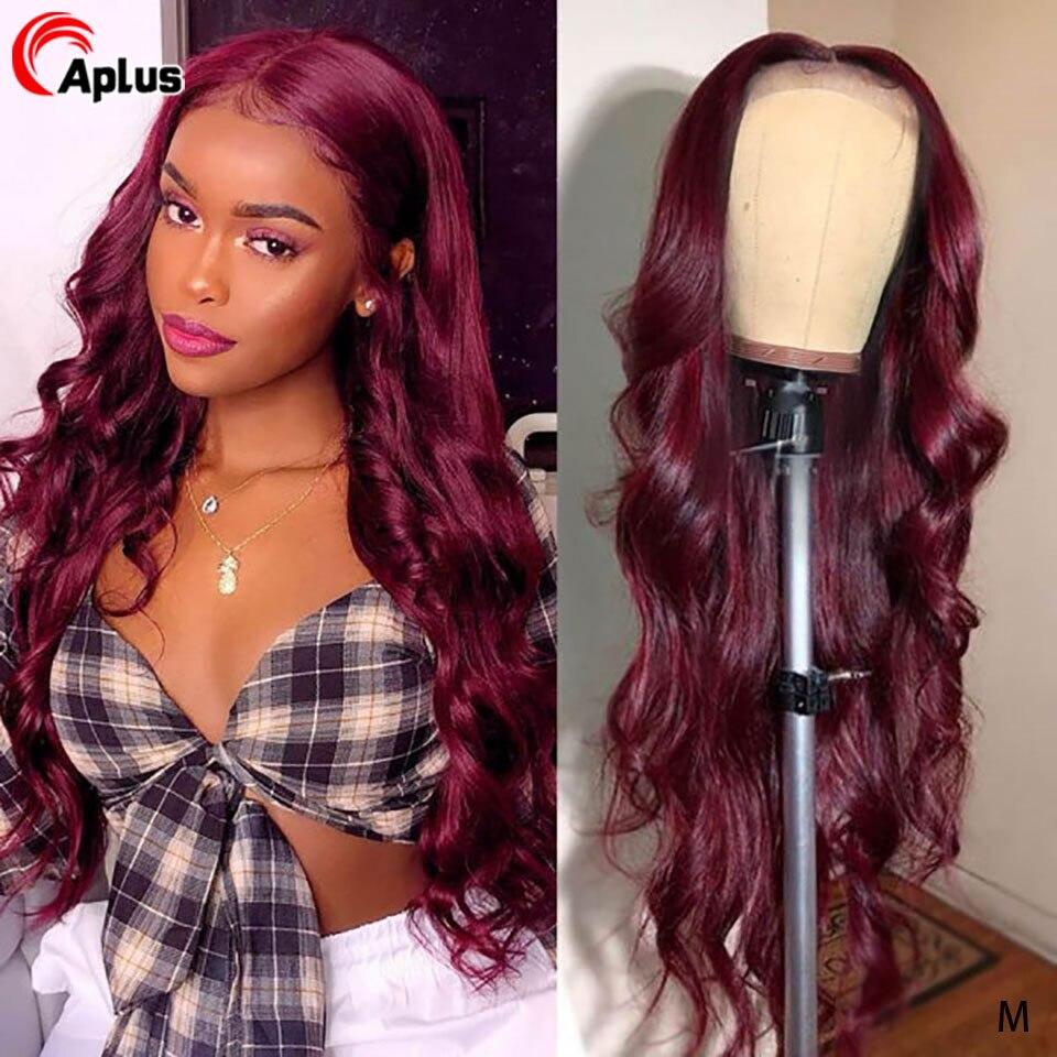 99j borgonha onda do corpo peruca 13x4 frente do laço perucas de cabelo humano ombre vinho vermelho pré arrancadas perucas de renda brasileira para as mulheres 150% remy